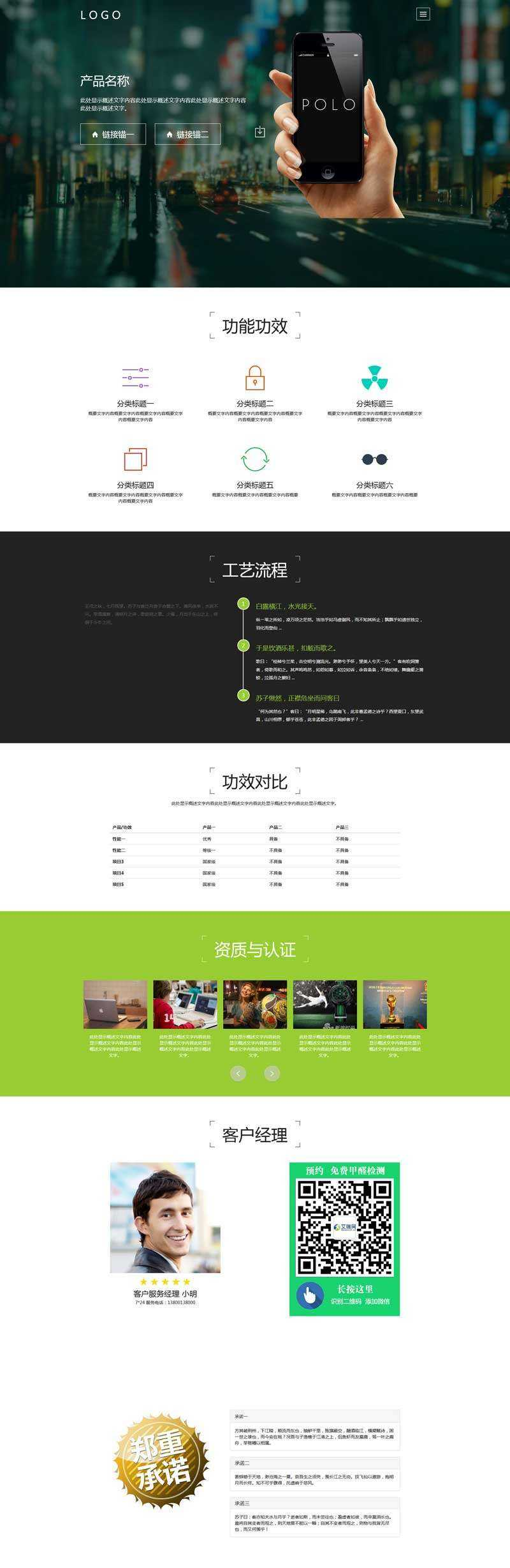 多用途的产品介绍展示网页模板