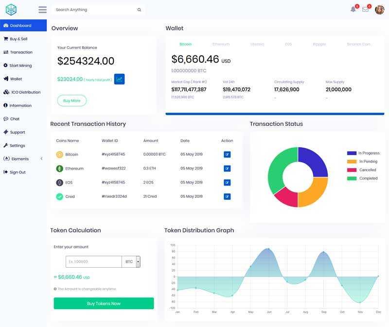 金融虚拟币交易管理ui模板