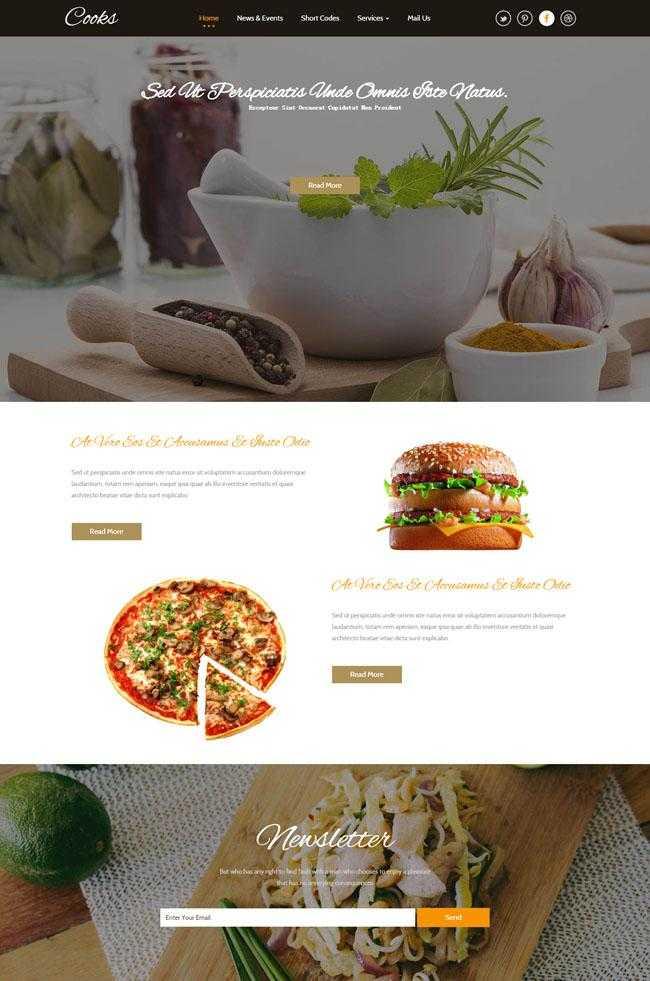 五星级酒店厨师网站模板插图