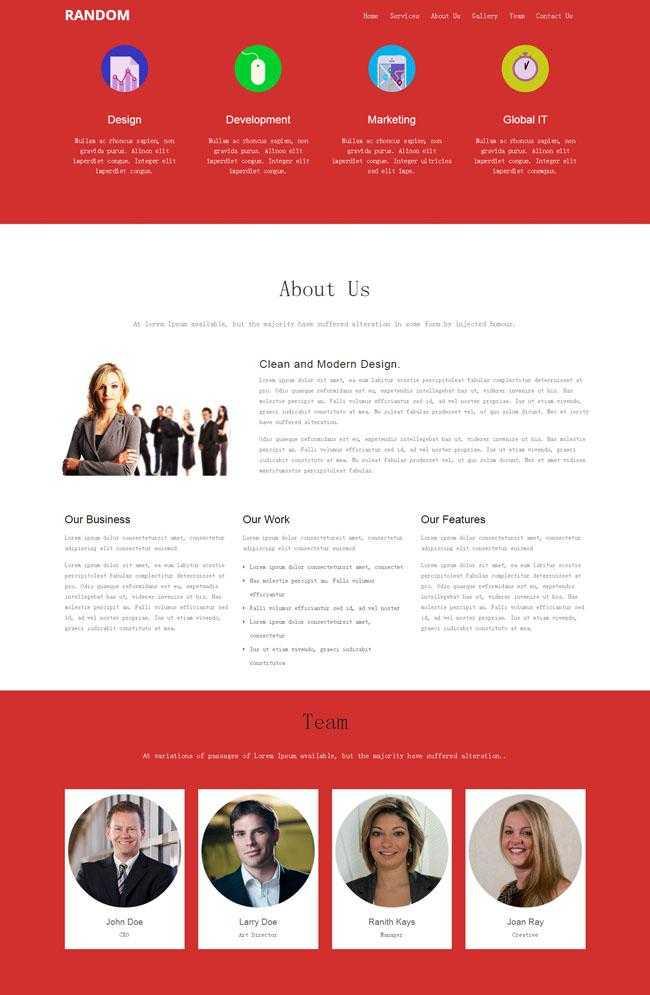 红黑搭配企业团队单页模板插图
