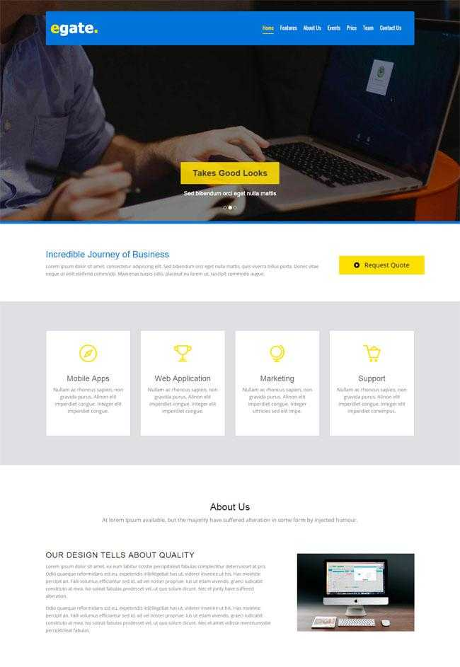 蓝色业务网站模板插图