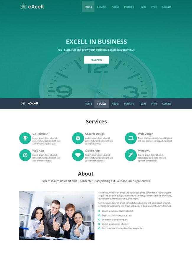 绿色时钟背景企业网站模板插图