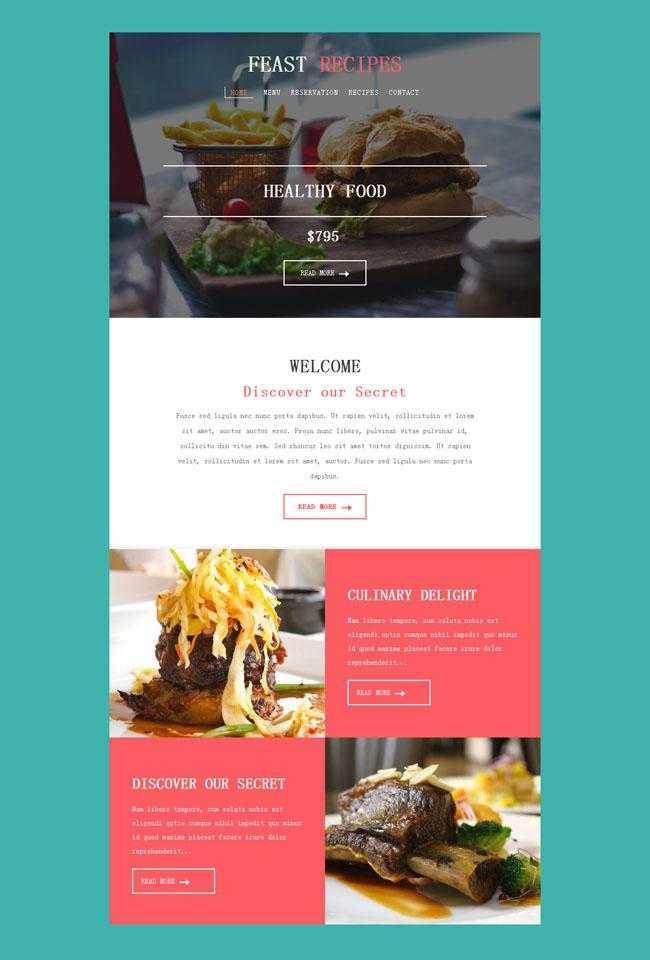 纯色背景美食网页模板插图