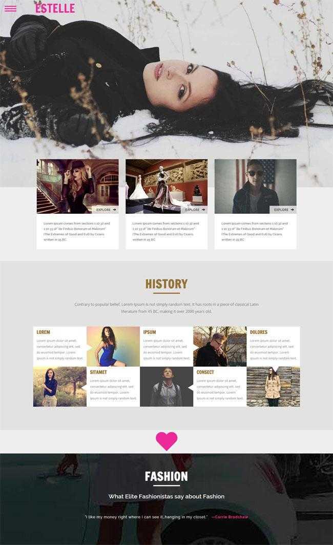 时尚平面模特展示网站模板插图