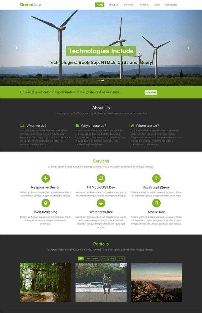 绿色宽屏风车发电站网站模板插图