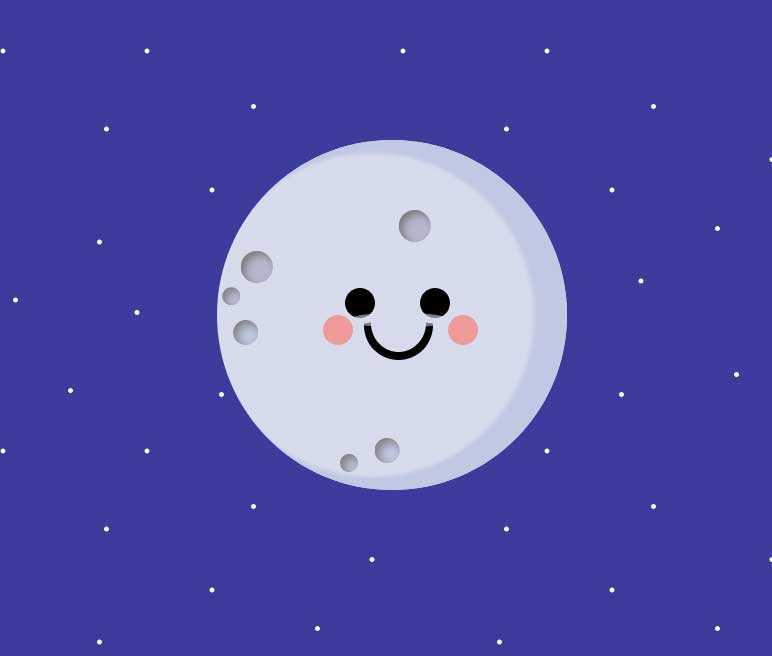 卡通的月球表情动画特效