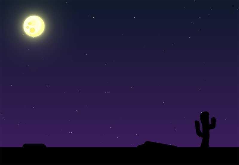 夜晚月光下的沙漠场景特效