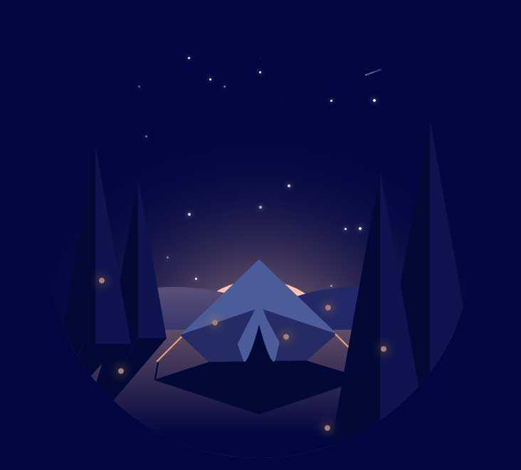 夜空中繁星露营地场景特效