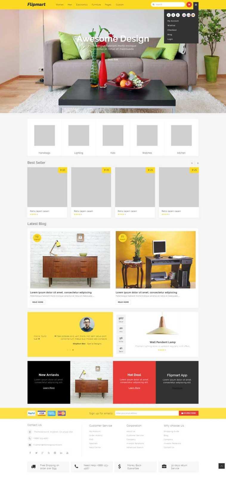 通用大气的网上家具零售商城网页模板