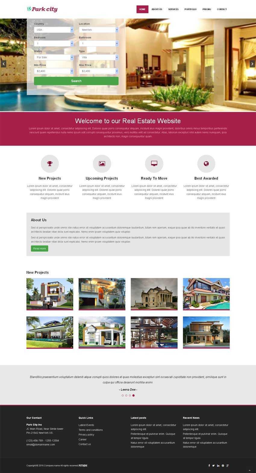 红色宽屏的在线酒店预订网站模板html下载