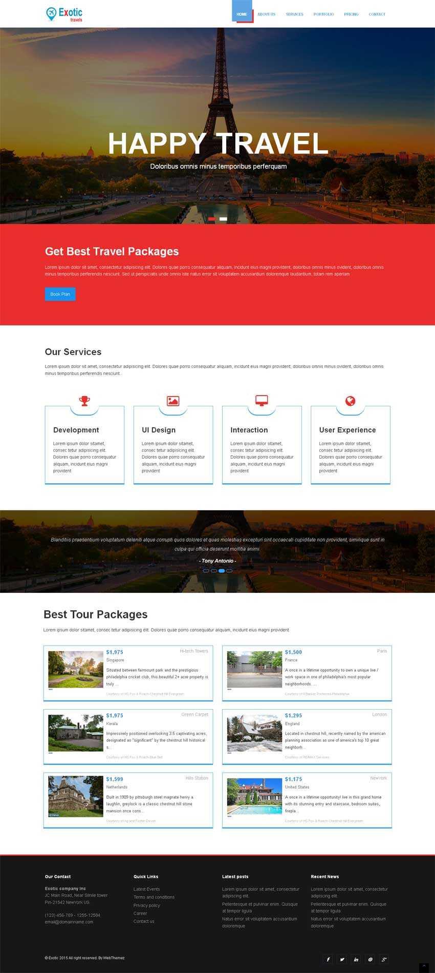 简洁宽屏的旅游度假别墅网站模板下载