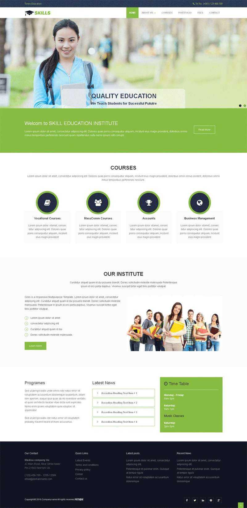 绿色简洁的出国留学公司网站静态模板
