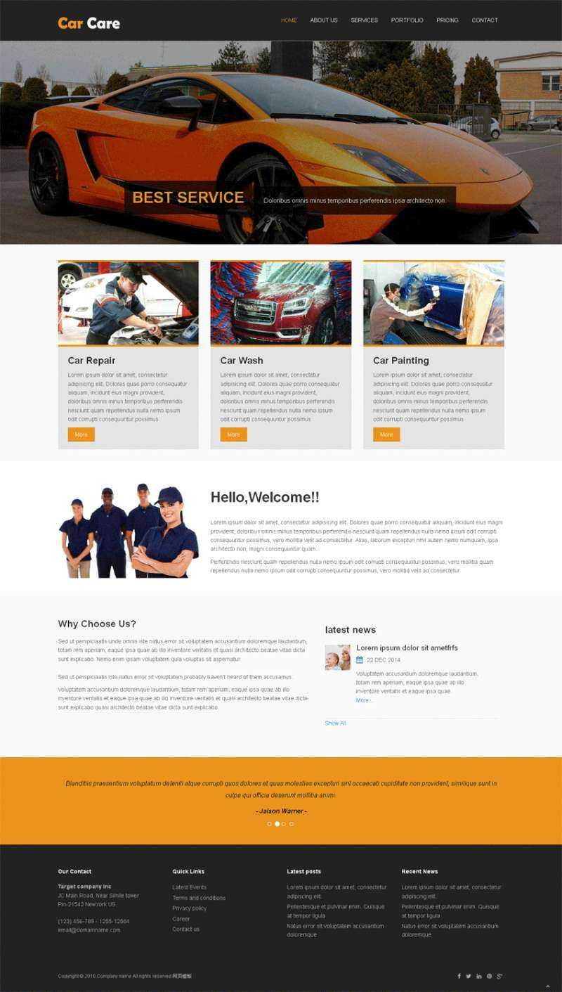 黑色简洁的汽车维修公司网站静态模板