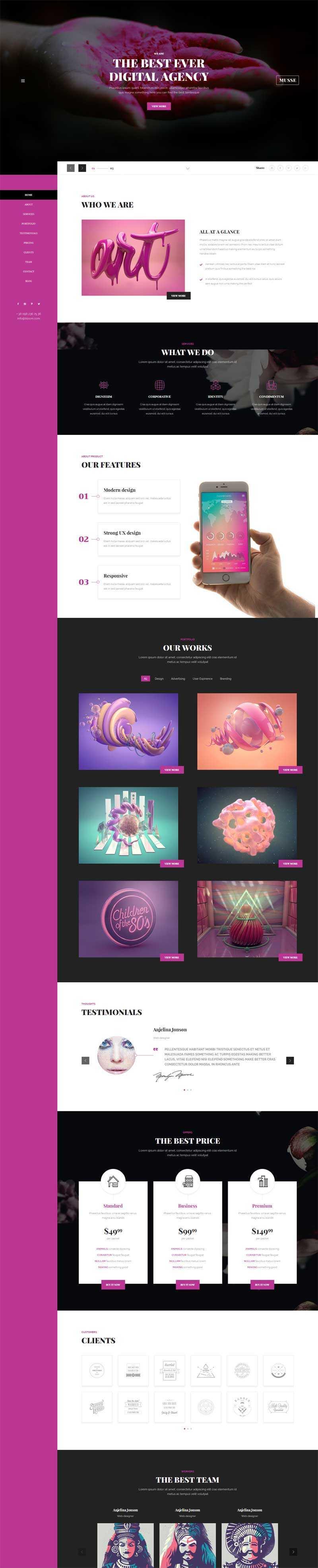 紫色的个人作品展示博客滚动视差网站模板