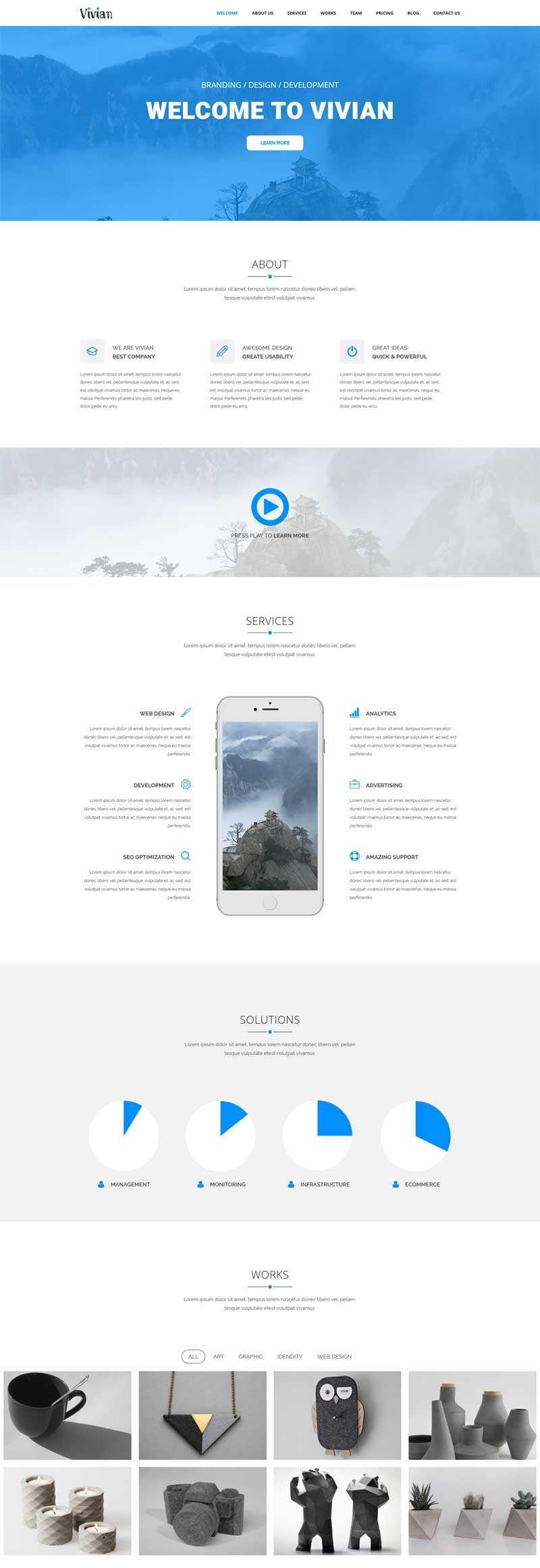 蓝色大气的公司业务介绍展示单页模板