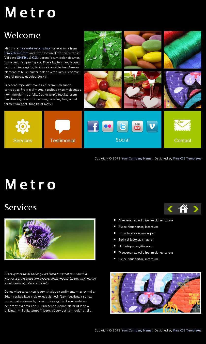 win8风格模板黑色背景metro风格界面网页模板html下载