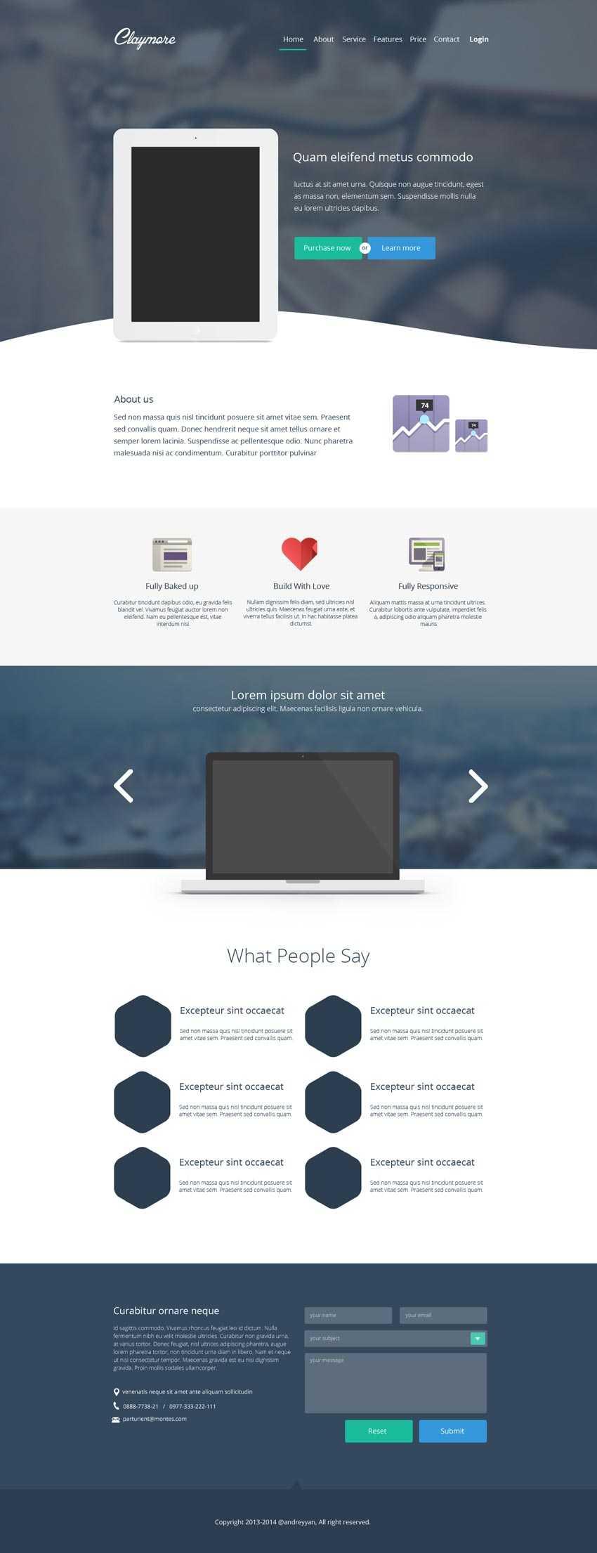 简洁的国外博客网站模板psd分层素材下载