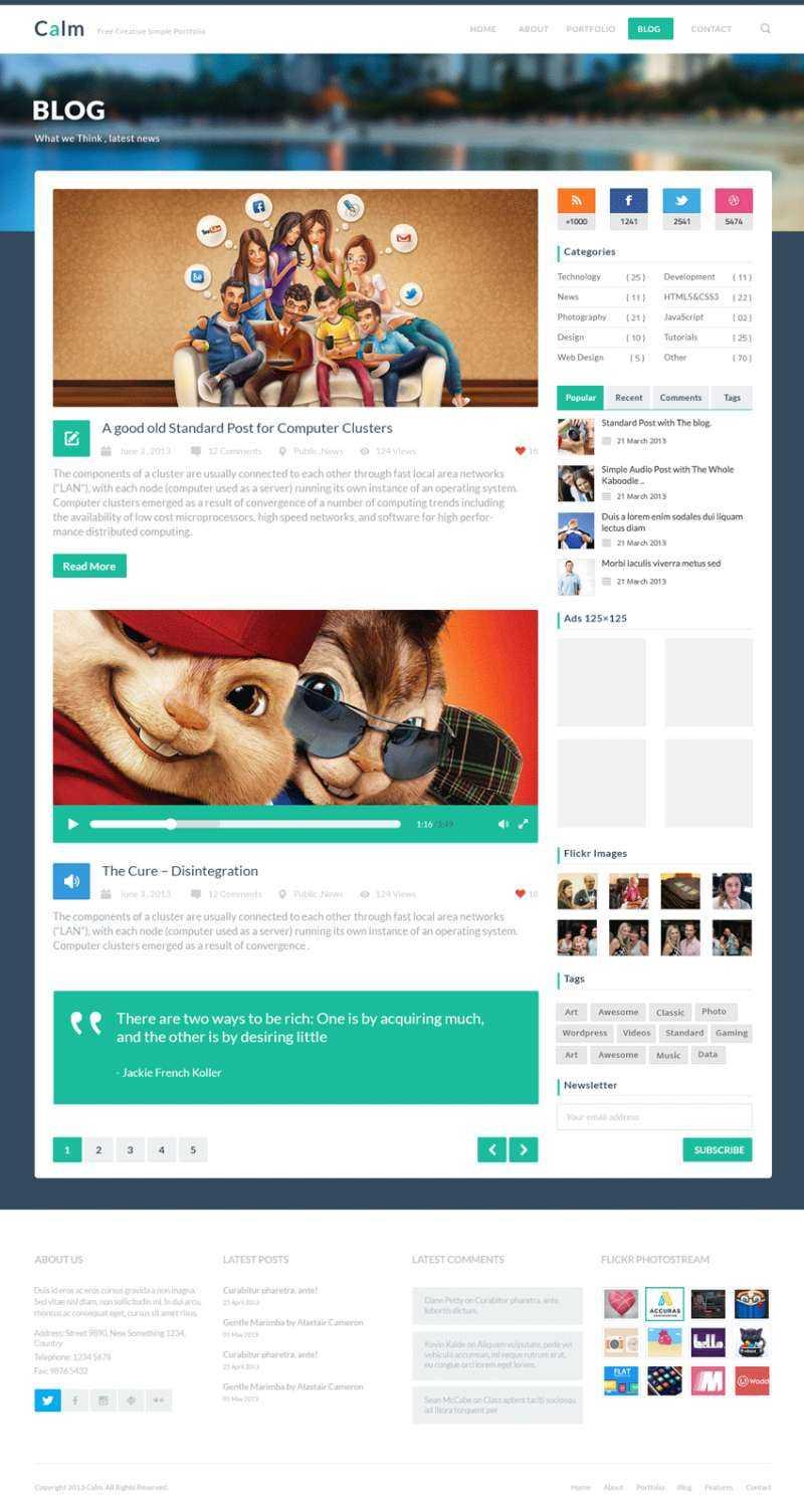 国外扁平化风格的个人博客网页模板psd分层素材下载