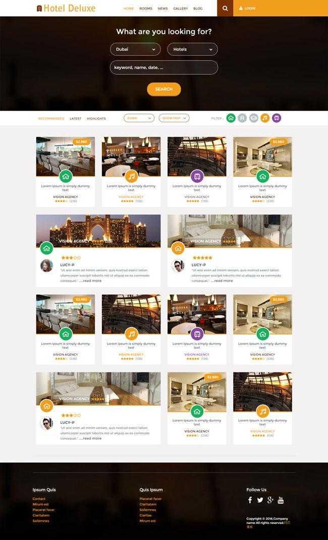 豪华酒店介绍预订网站模板插图