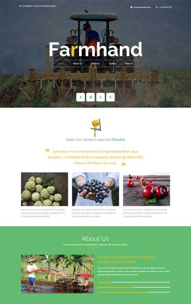 农场生产基地HTML5网站模板插图