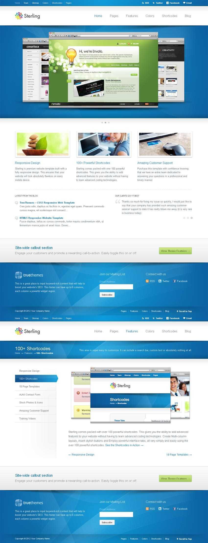 国外蓝色的商务公司响应式网站模板html下载