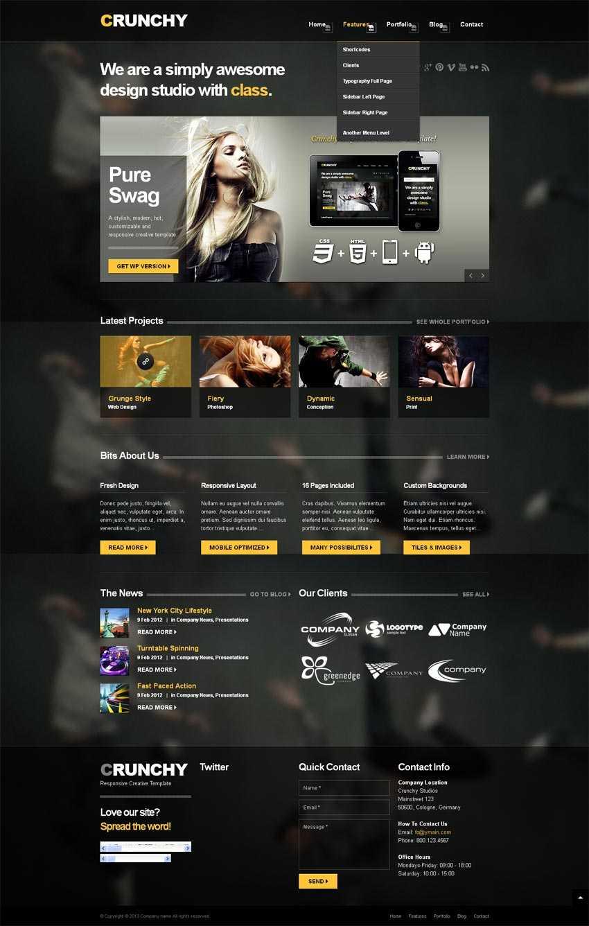 黑色半透明风格的人物摄影响应式网站模板html整站下载