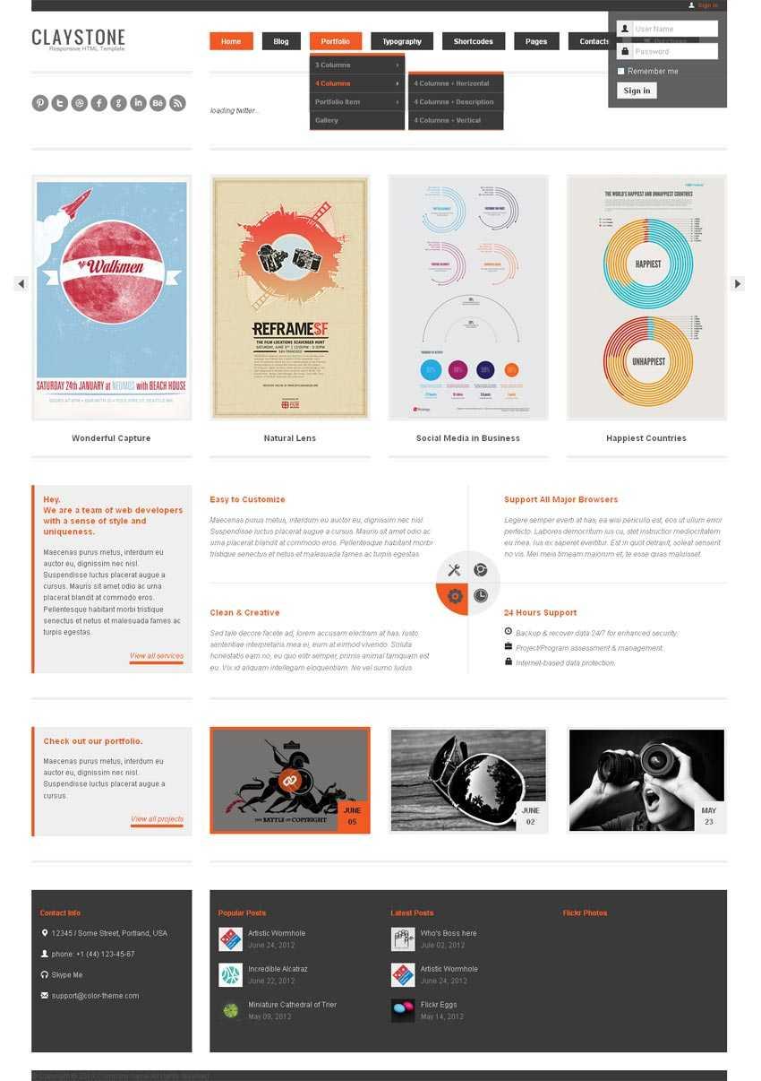 html5响应式设计师博客网站模板html整站下载