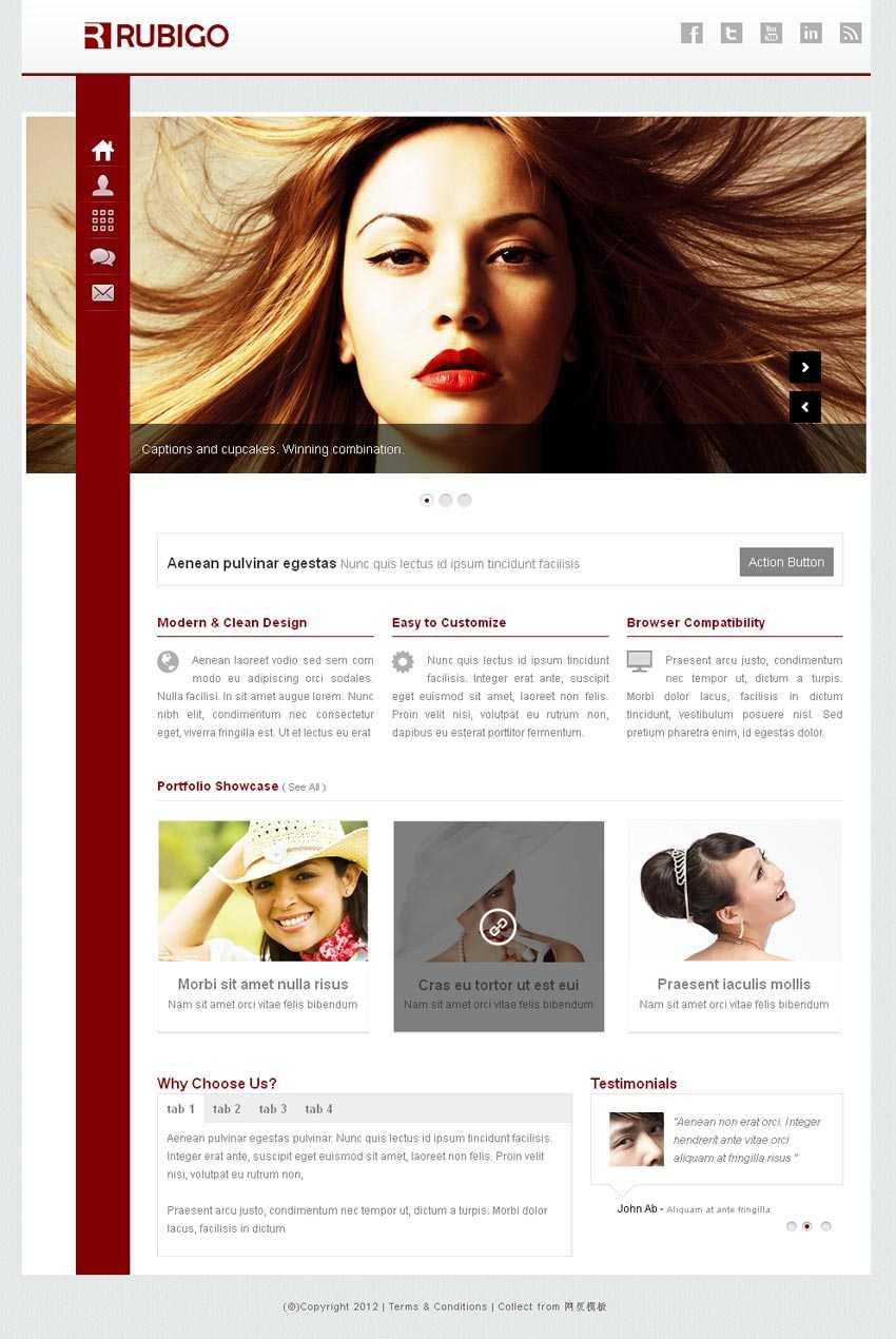 红色扁平风格的响应式个人摄影相册网站模板html整站下载