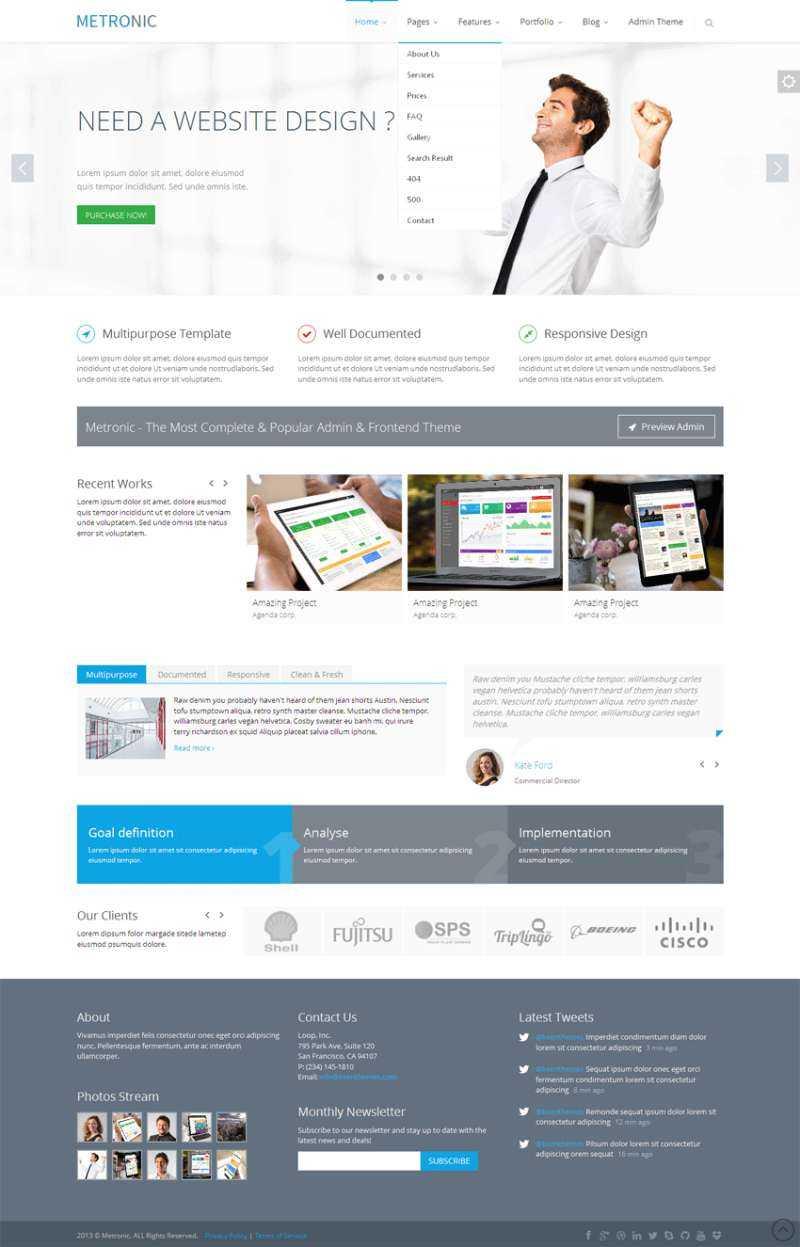 白色简洁的IT软件公司模板bootstrap响应式网站模板下载