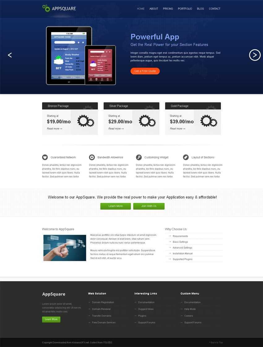 蓝色的响应式手机应用软件网站模板html整站下载