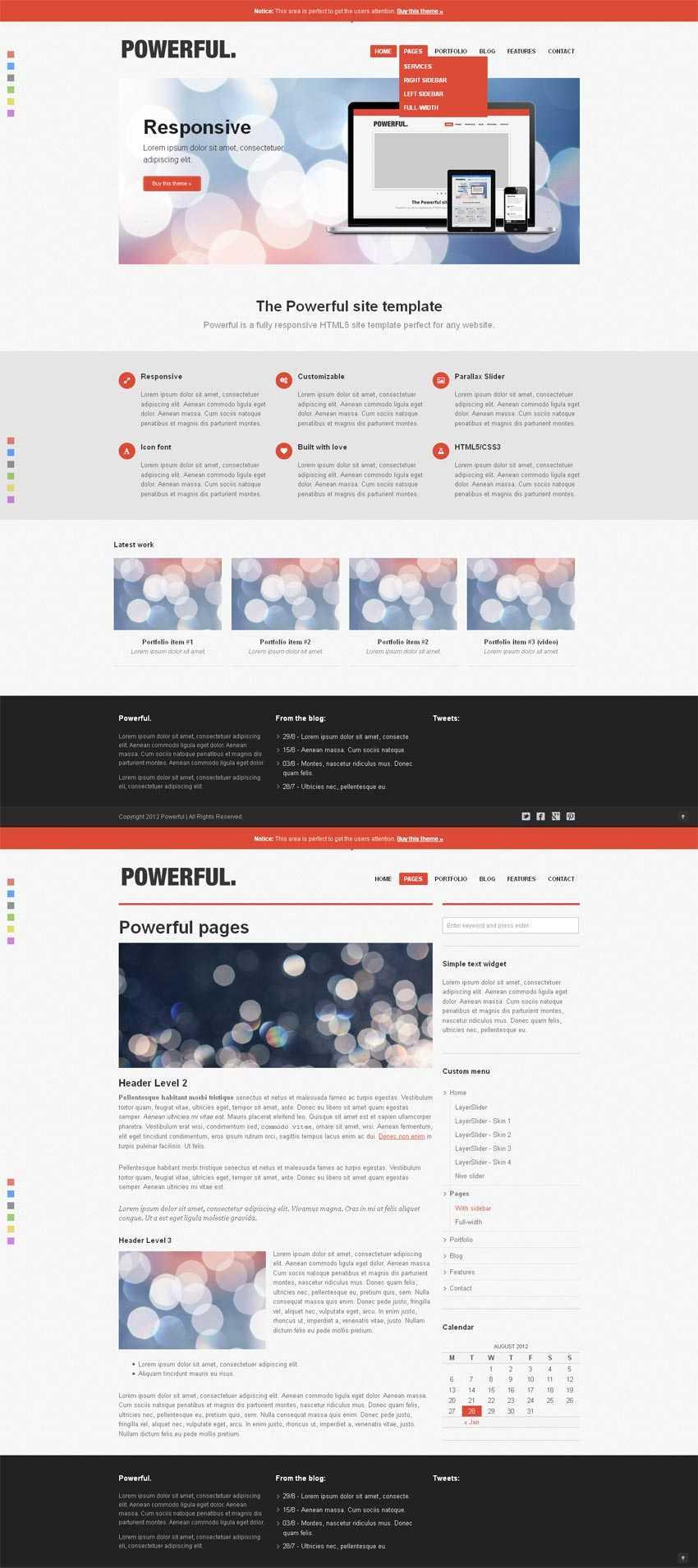 扁平风格的设计师博客网站响应式布局模板html整站下载