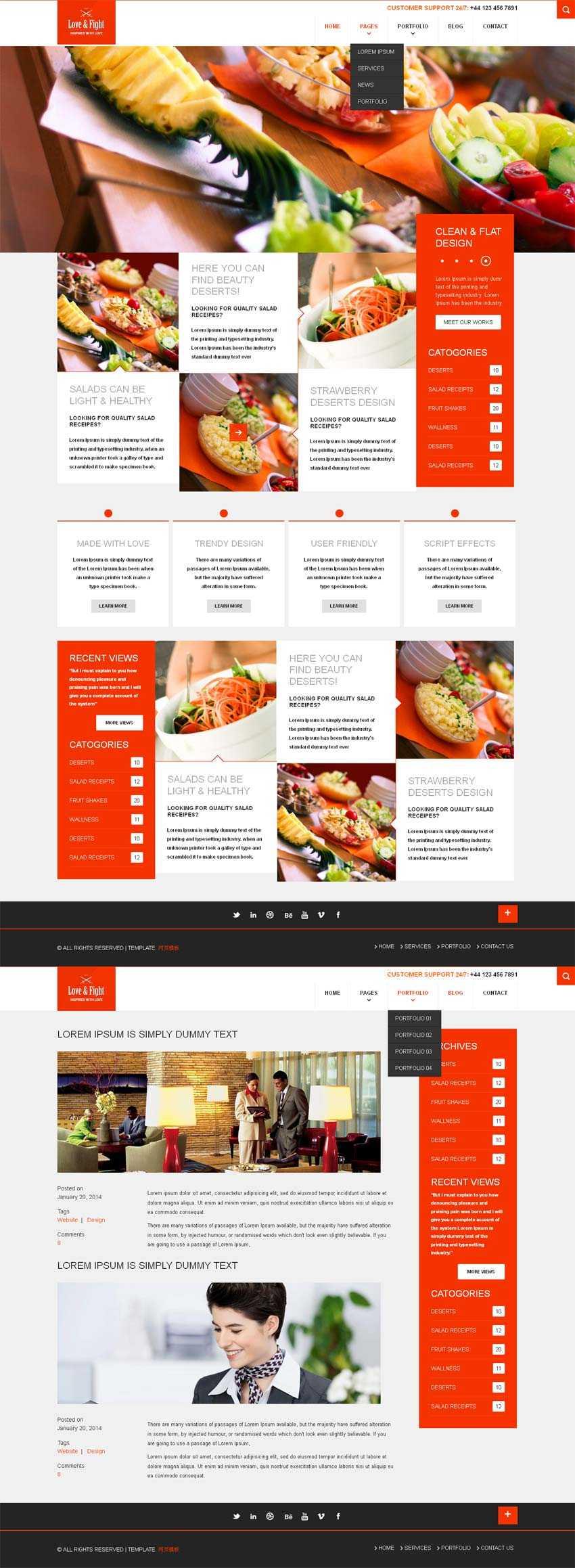 html5响应式设计餐饮网站模板源码下载