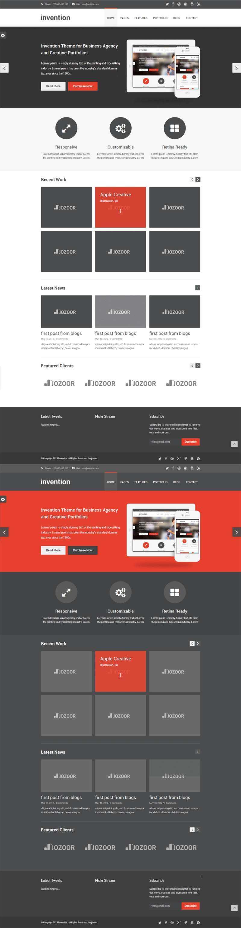 黑白扁平风格的商务企业html5响应式网页模板整站下载