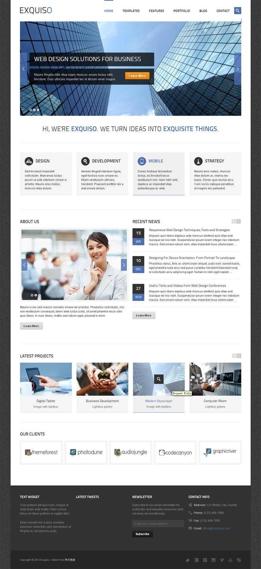 扁平化网站设计商务公司html5响应式模板下载