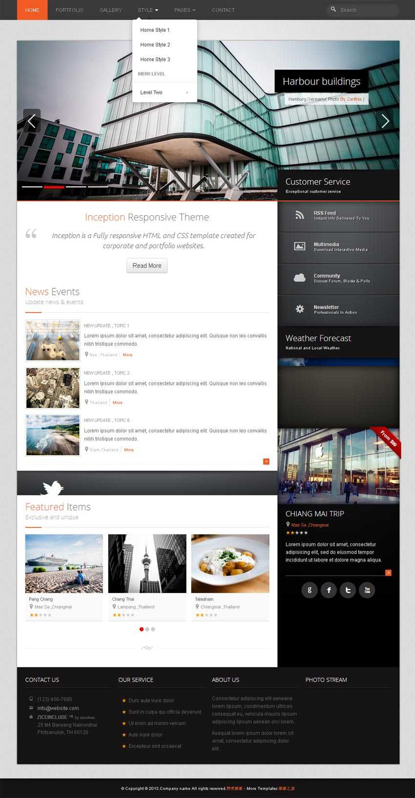 html5 bootstrap响应式旅游美食网站模板源码下载