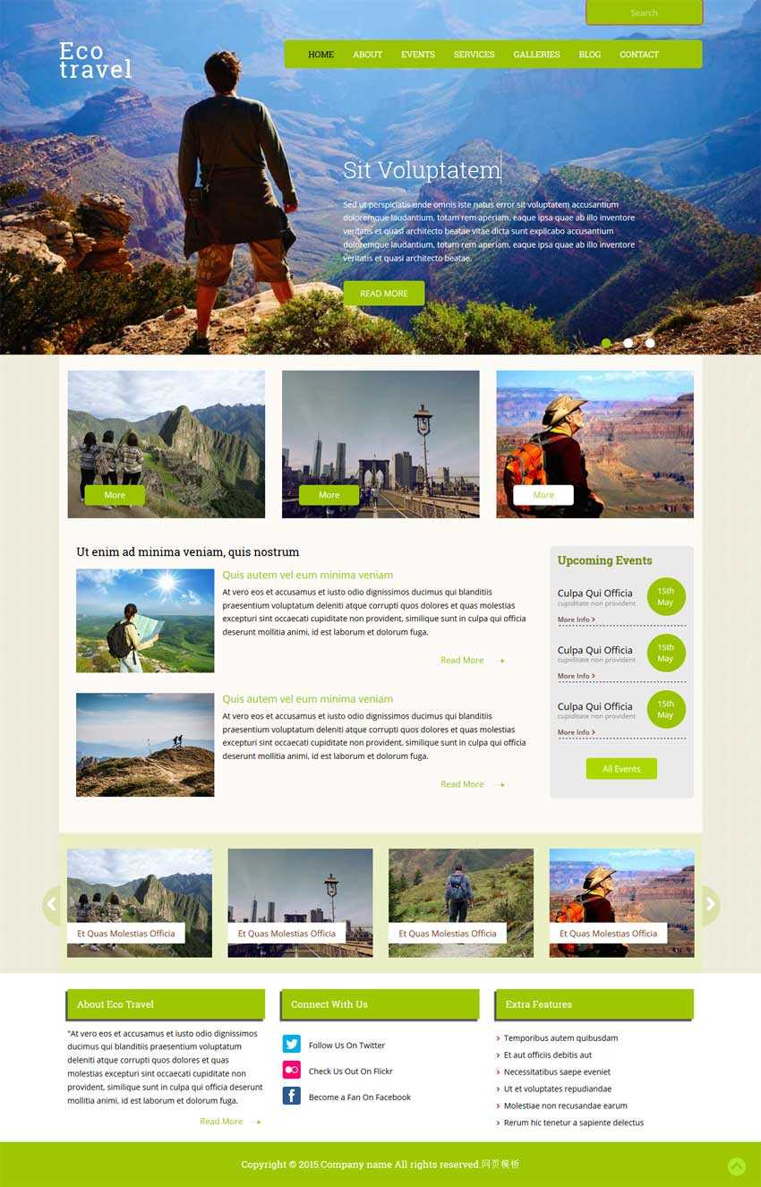 绿色的bootstrap响应式户外旅游网站模板下载