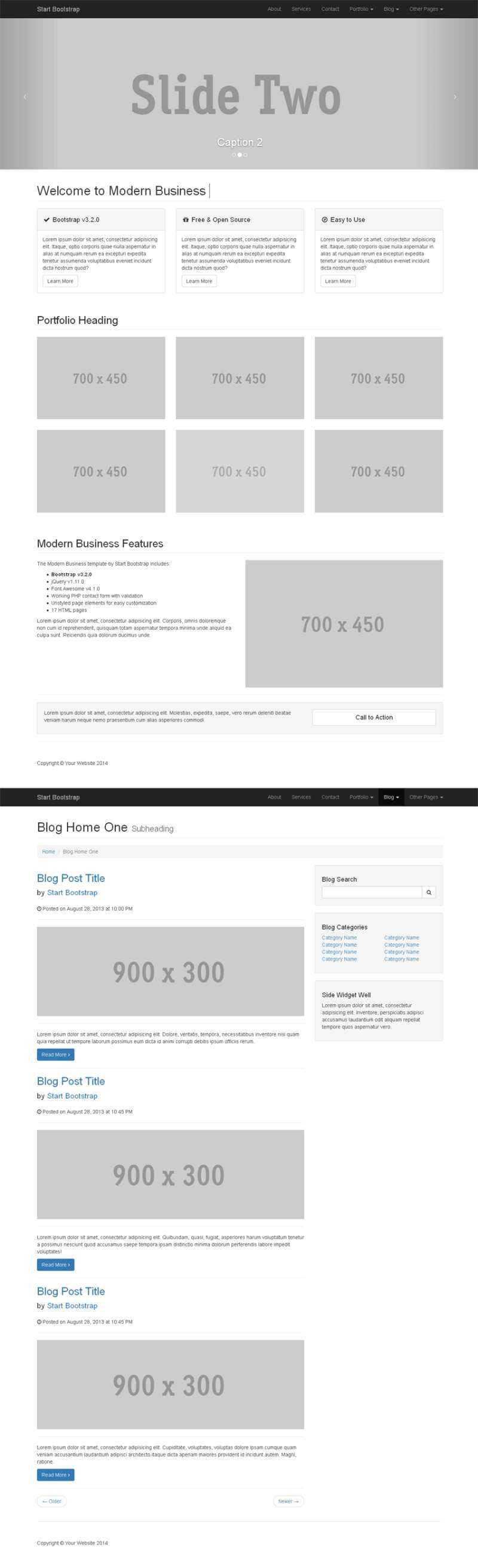 简洁实用的bootstrap响应式灰色网站模板下载