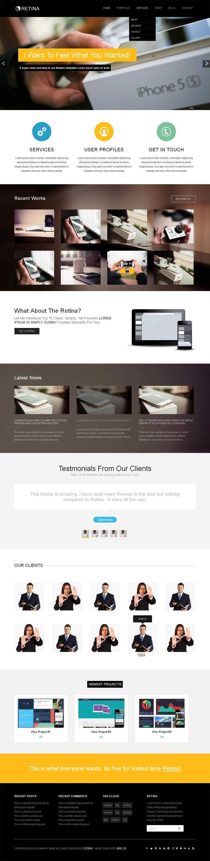 黑色简洁的IT商务网站响应式模板html整站下载