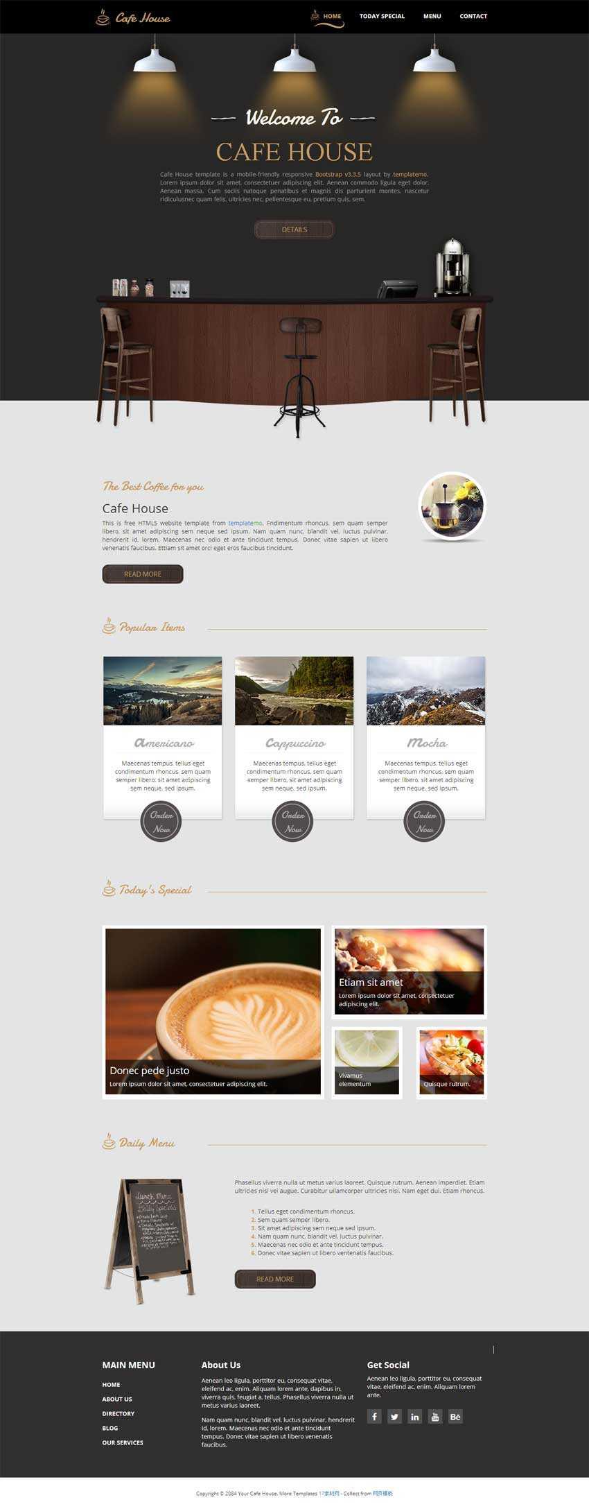 黑色的html5咖啡馆响应式网站模板下载