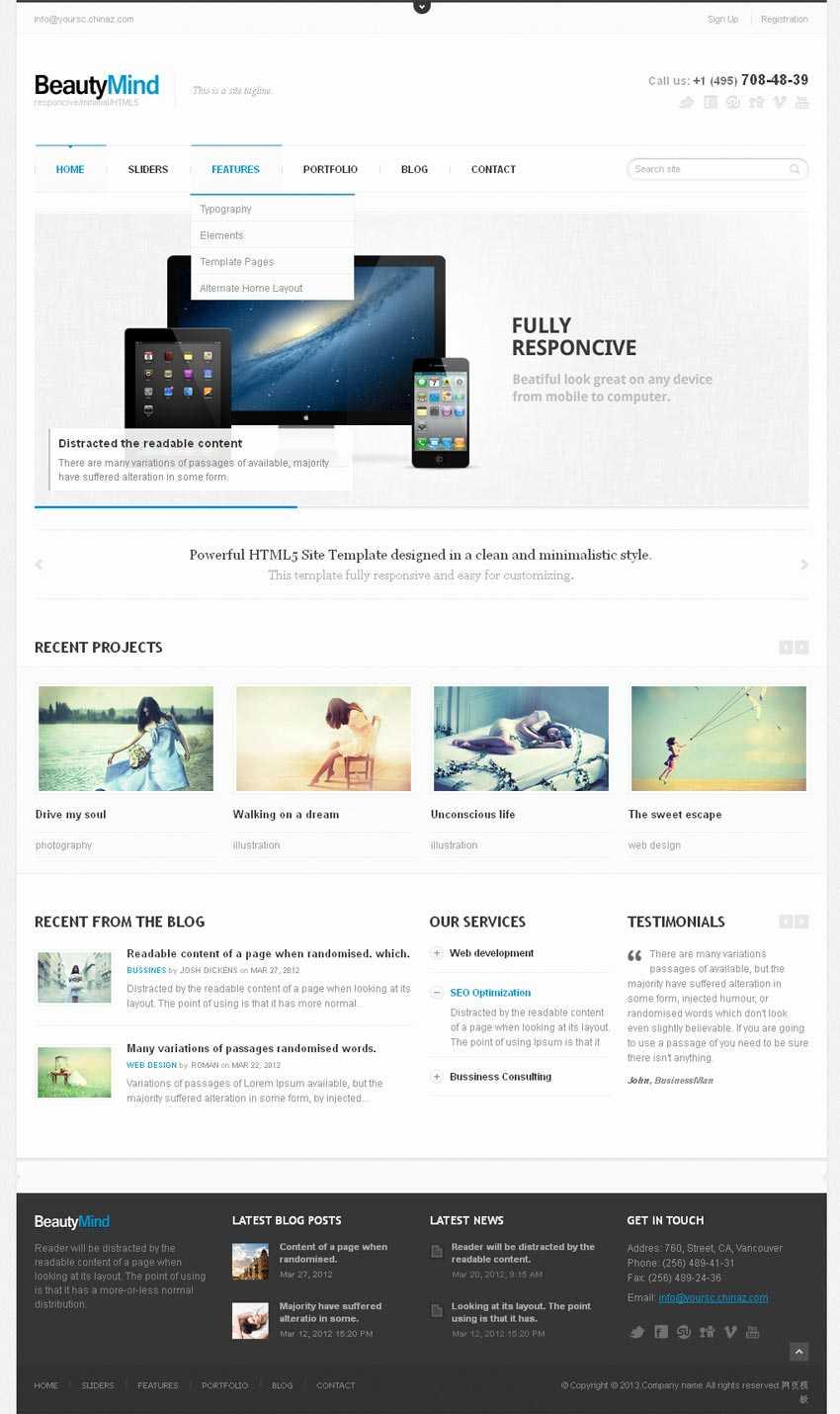 简洁的html5响应式设计企业博客网站模板整站下载