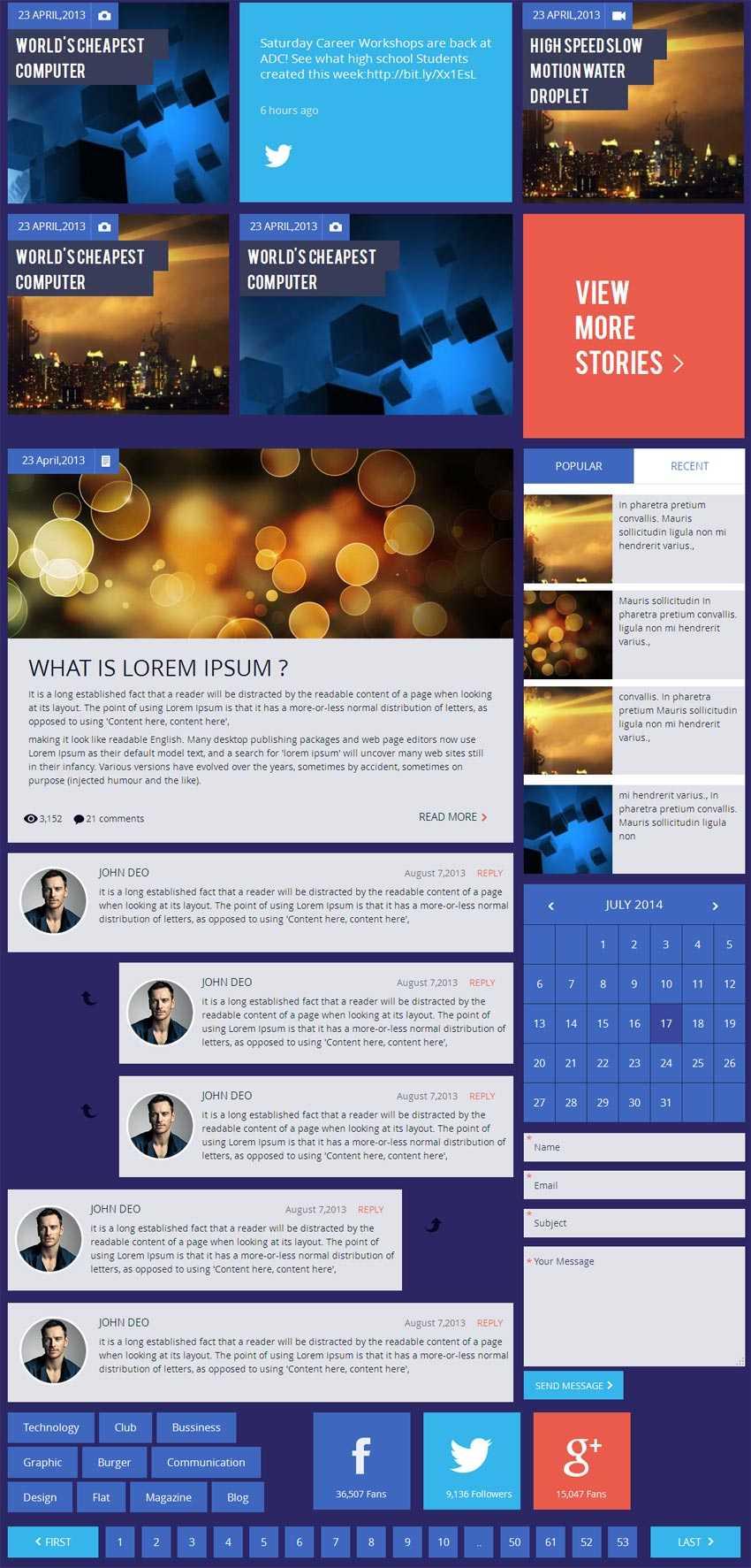 深蓝色扁平风格的企业博客网站UI工具包html模板源码下载