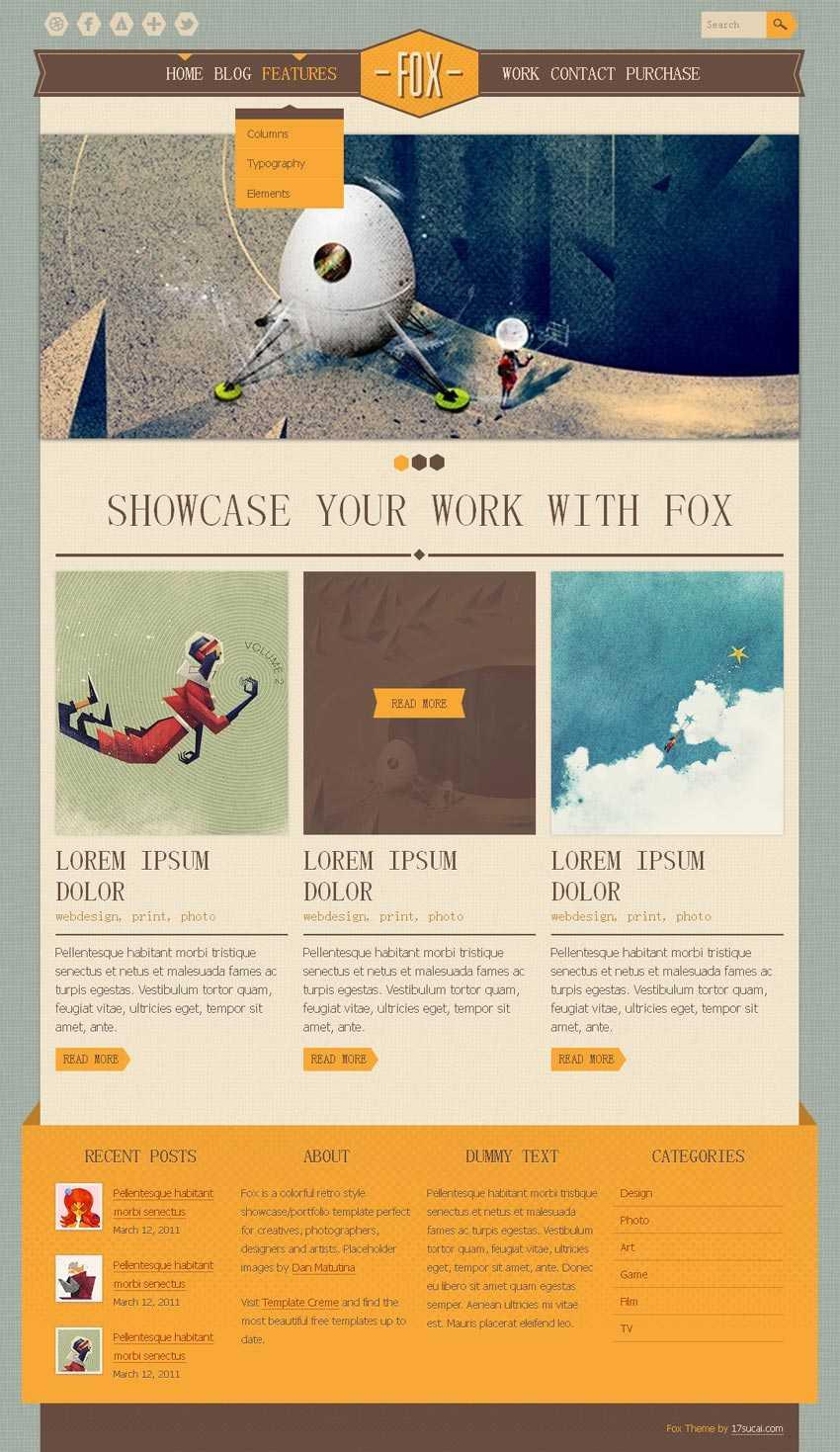 创意的科普漫画博客网站HTML5响应式网页模板下载