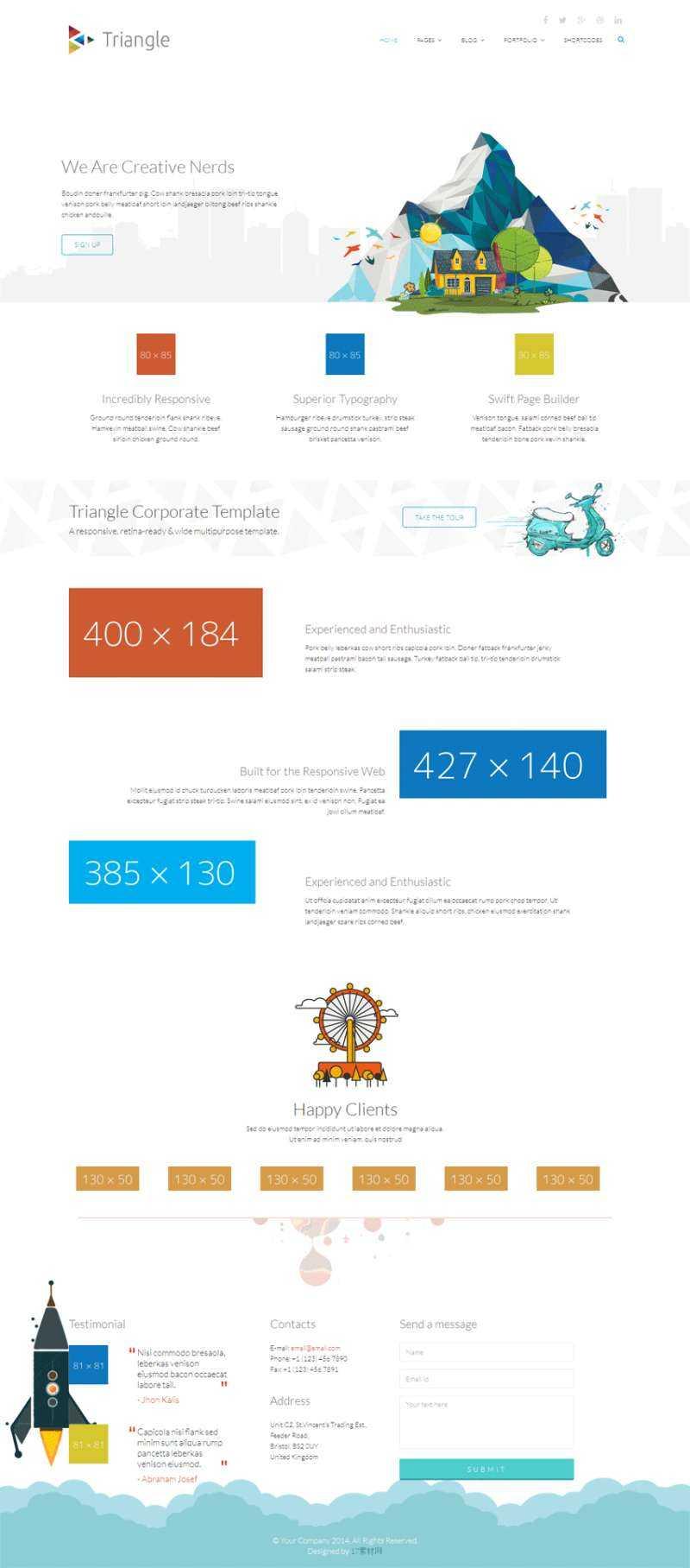 白色简洁的html5响应式网页动画设计模板