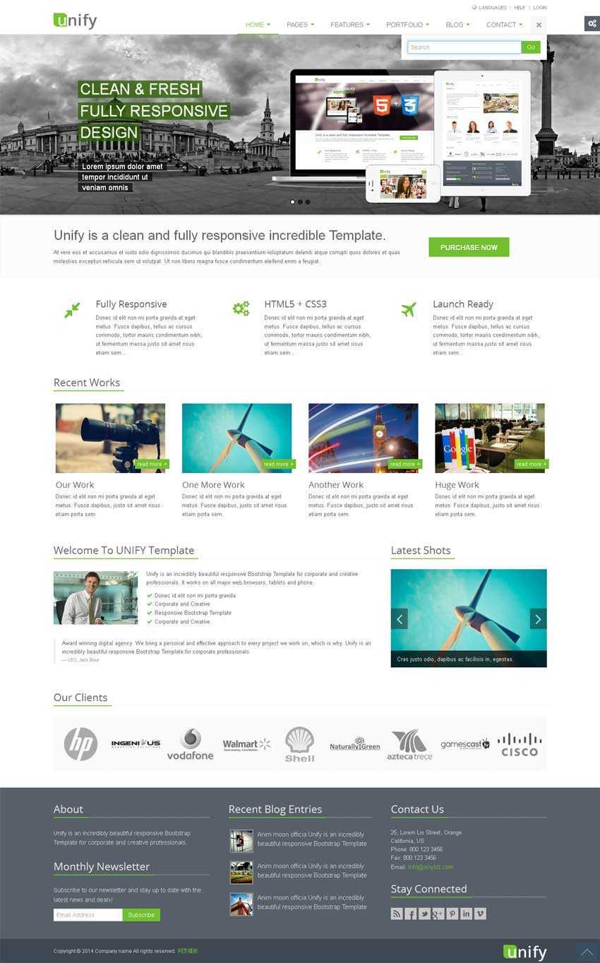 绿色html5响应式IT网络公司网站模板下载