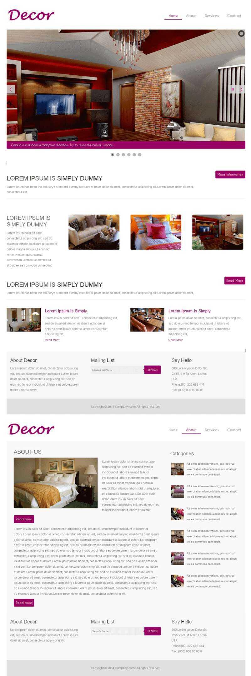 红色装修公司网站模板html响应式装修公司网站源码下载